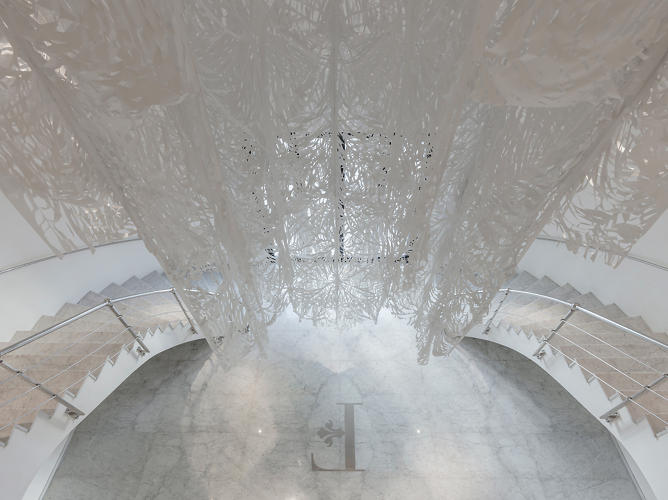 <p>Also on view is Pop-Up Paradises, a site-specific installation by Manuel Ameztoy of intricate hand-cut textiles.</p>