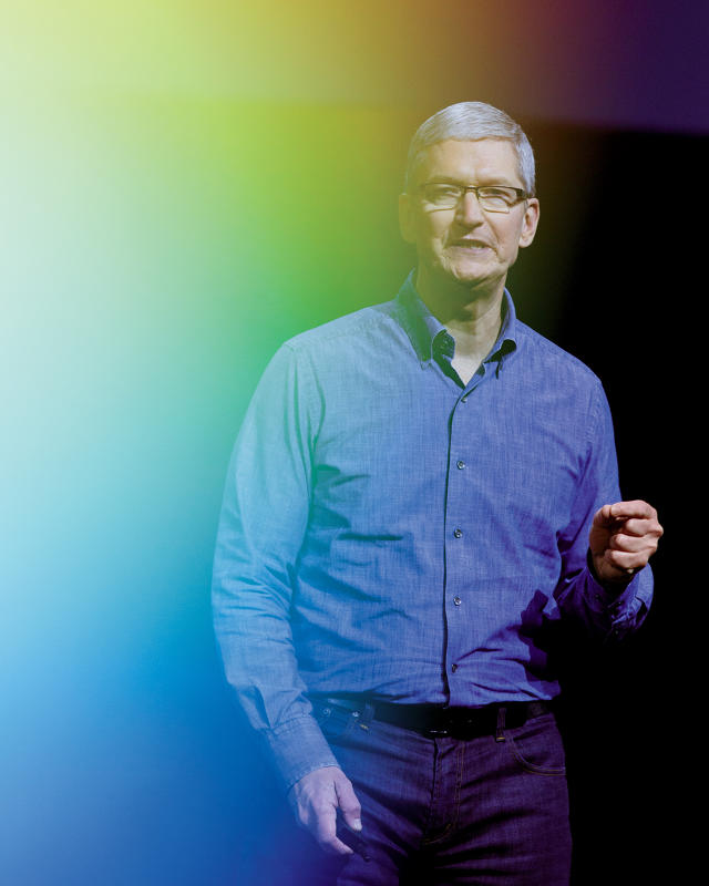 Tim Cook on stage at the World Wide Developers Conference 2016.[Photo: Melissa Golden] by FastComapny