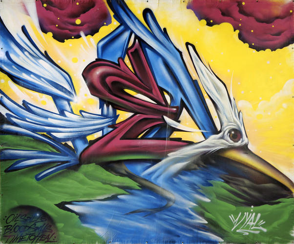 <p><strong>Vyal</strong> is a Los Angeles artist regarded as a master of spray paint art, and a two-time champion of the Estria Battle, a nationwide urban art competition. This image is from the 2009 Estria Battle, where Vyal took first place.</p>