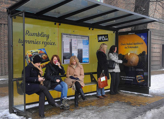 <p>SMELL! TASTE! FEEL! HEAR!: McCain Ready Made Jackets bus shelter</p>  <p>If the end of a long day usually induces a serious case of the stomach rumbles, then standing in a bus shelter drenched in the scent of tasty baked potatoes is likely to send you running to the nearest shop for some quick-cooking spuds. Or that's the hope of London agency Beattie McGuinness Bungay, which for the launch of McCain Ready Made Jackets installed 3-D fiberglass baked potatoes (jacket potatoes in Brit-speak) that heat up and emit the smell of cooking potatoes with the press of a button. Not wanting to leave consumers hanging, the shelters--installed in Manchester, York, London, Nottingham, and Glasgow--were also outfitted with a coupon dispenser.</p>