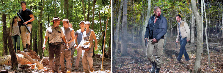 "<p>During season two, Shane (Jon Bernthal) and Rick (Andrew Lincoln) descend from best friends into a bitter leadership rivalry. Womble often dressed them in opposite colors to highlight that rift. In these images, Shane wears a dark shirt and light pants, while Rick is reversed. Shane embraces civilization's decline in military-style cargo pants, while Rick clings to his past life in his uniform. ""But his clean uniform kept getting dirtier and badges fell off,"" says Womble. ""By season three, he's a completely different man, and no longer wearing it. But I still keep him in the same color shirt he wore as the sheriff to remind the audience of who he used to be.""</p>"