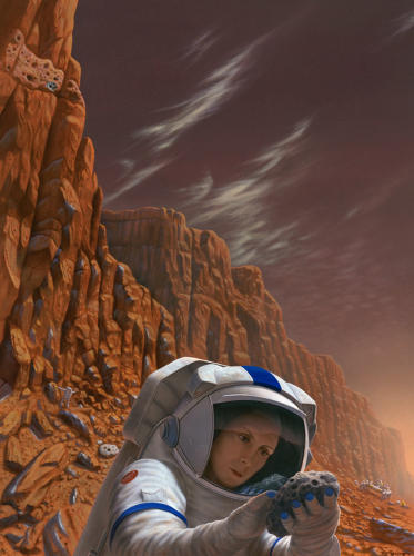 <p>Rawlings used his wife as a model for this image. &quot;This painting tries to show the moment of discovery, the first time a human being visually sees evidence of life on Mars.&quot; Rawlings discusses this image further below.</p>