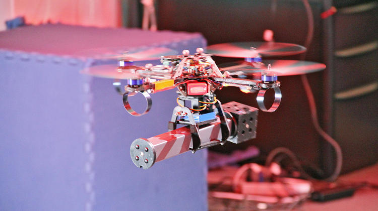 <p>A quadrotor UAV has been programmed to independently build a structure out of building blocks.</p>