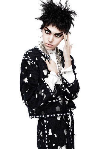<p>Karl Lagerfeld took a high-fashion nod from Vicious for this torn House of Chanel suit, photographed in the March 2011 issue of <em>Vogue.</em></p>