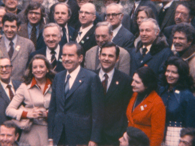 <p>Nixon and the 87 members of the press who went with him to China pose for a photo. Helen Thomas, Barbara Walters, Walter Cronkite, and Dan Rather (kneeling, to Nixon's right) are pictured. February 1972.</p>