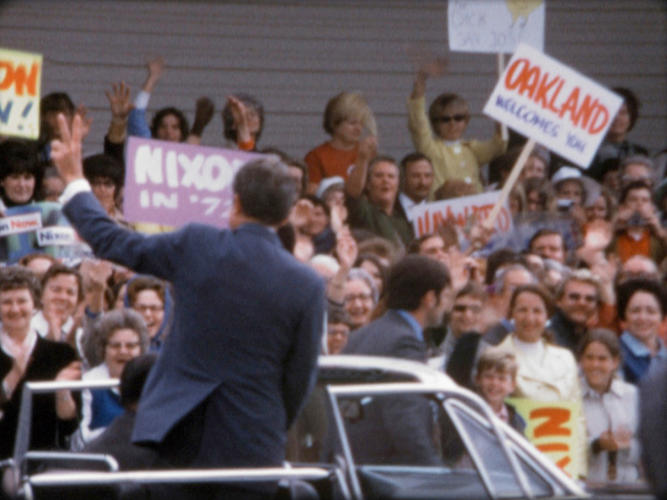 <p>Cheering crowds greet President Nixon on the 1972 campaign trail in California.</p>
