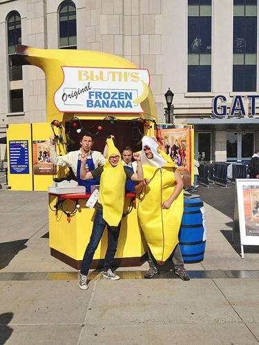 <p>In May, a frozen banana stand hit cities like London, New York, and Los Angeles, where fans waited up to half an hour in line to get a free frozen banana dipped in chocolate. The pop-up stunt included surprise visits--in New York, Ron Howard, the show's producer and narrator, along with cast member Terry Crews, handed out bananas. And when the stand hit Yankee Stadium, the first 20 visitors received free tickets to the game.</p>
