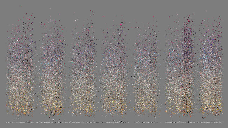 <p>A detail from plot visualization of 33,292 photos from Tel-Aviv, sorted by time and hue.</p>