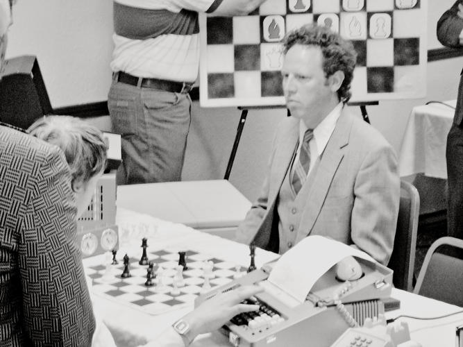<p>Myles Paige as Mike Papageorge plays an intense game against James Curry as Les Carbray of Allied Laboratories.</p>