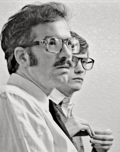 <p>Patrick Riester as Peter Bishton and Gordon Kindlmann as of Tom Schoesser, members of the Caltech team</p>