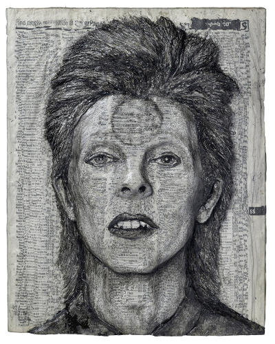 <p>Alex Queral peels away pages of old Philadelphia residential telephone books to create celebrity portraits. His tools: a very sharp X-Acto knife and a small pot of acrylic medium.</p>