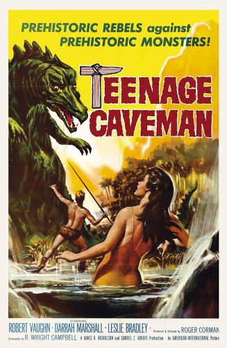 <p>U.S. poster for <em>Teenage Caveman</em> (1958), directed by Roger Corman. The original title for this sci-fi time-warp film was Prehistoric World. But after scoring at the box office with <em>I Was a Teenage Werewolf</em> and <em>I Was a Teenage Frankenstein,</em> AIP changed the title. Robert Vaughn, who would later star in <em>The Magnificent Seven</em> and <em>The Man from U.N.C.L.E.,</em> plays a primitive man who discovers that his Stone Age world is actually a post-apocalyptic future.</p>
