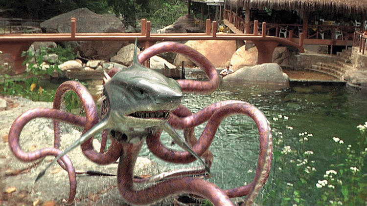 <p>Frame grab from Sharktopus (2010), directed by Declan O'Brien. Eric Roberts plays God and pays for his hubris in one of Corman's Syfy originals.</p>