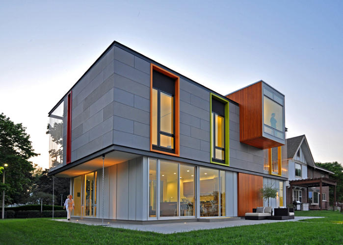 <p>This single-family house in Racine, Wisconsin, was one of the first LEED Platinum-certified homes in the Upper Midwest. Designed by Johnsen Schmaling Architects, it features an innovative rainscreen that suspends concrete panels between horizontal steel channels, creating a breathable 8-inch-thick barrier against the elements.</p>