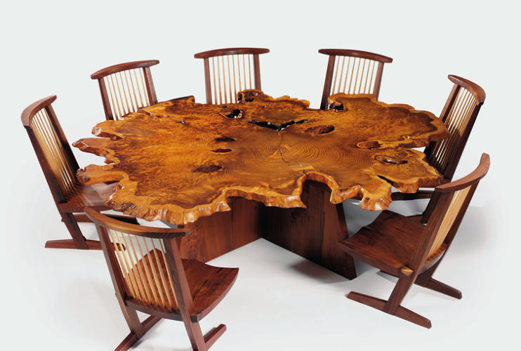 <p>Many of the most prized furniture designers were trained as architects, like the Japanese-American wood-worker Nakashima. His Arlyn table is shown here.</p>