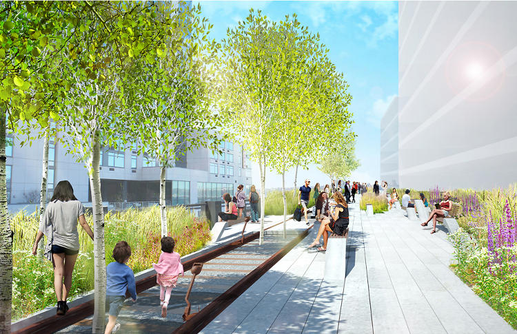 <p>Visitors will be able to walk on the High Line's original tracks. The so-called rail walk might incorporate old switchgear, too.</p>