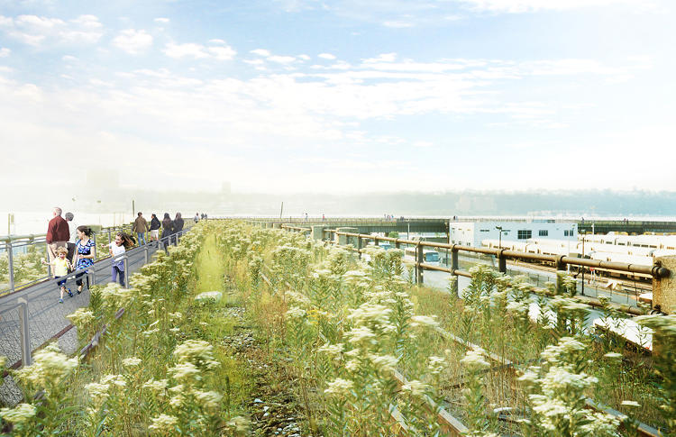 <p>The High Line's design is complicated by the simultaneous development of Hudson Yards. Along one stretch of the park, the designers propose building a temporary walkway that'll serve as a placeholder until nearby construction lets up.</p>