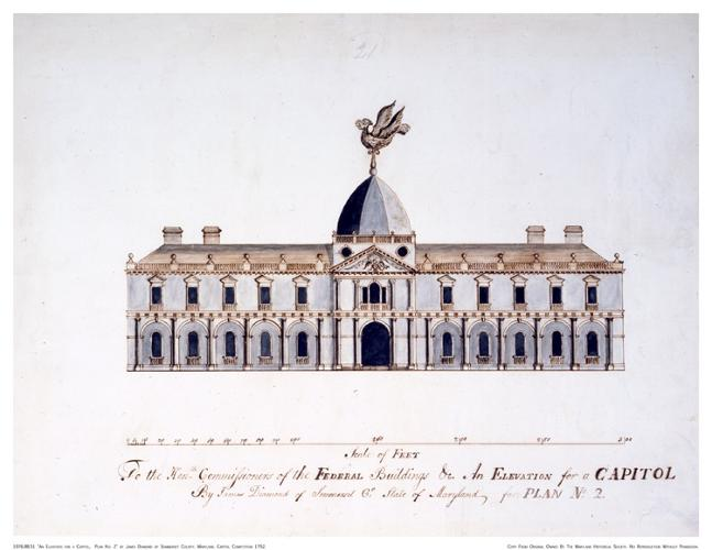<p>James Diamond's 1792 competition entry for the Capitol building featured a weathercock that was about as big as the dome supporting it. The contest attracted a lot of amateur architects. Needless to say, Diamond was one of them.</p>