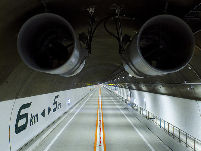 <p>Taken from a truck for high-lift work, this view would be lost (to traffic) once the tunnel opened.</p>
