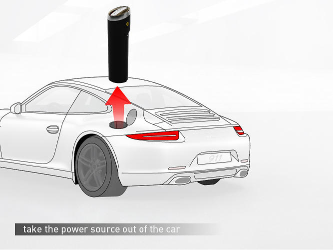 <p>Power Source by Guy Ceder. Ceder's entry was the most future-forward of the Top 7, imagining a world where cars themselves become energy-generating power-sources. His device would take excess power and store it in a removable battery.</p>