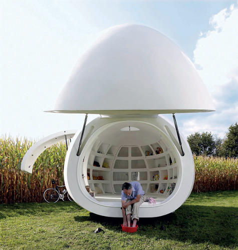 <p>It took a contractor six months to hand-craft the ovoid shape of this guesthouse out of polyester. The interior is lined with a gridlike storage system, which also has compartments for lounging and sleeping.  The nose of the blob and a side door can be opened to create an airy pavilion.</p>