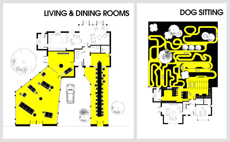 <p>At left, a layout for a restaurant and event space; at right, for a dog run.</p>