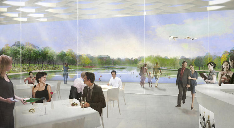 <p>Rogers Marvel Architects and Peter Walker and Partners' vision for Constitution Gardens includes a water-side cafe.</p>