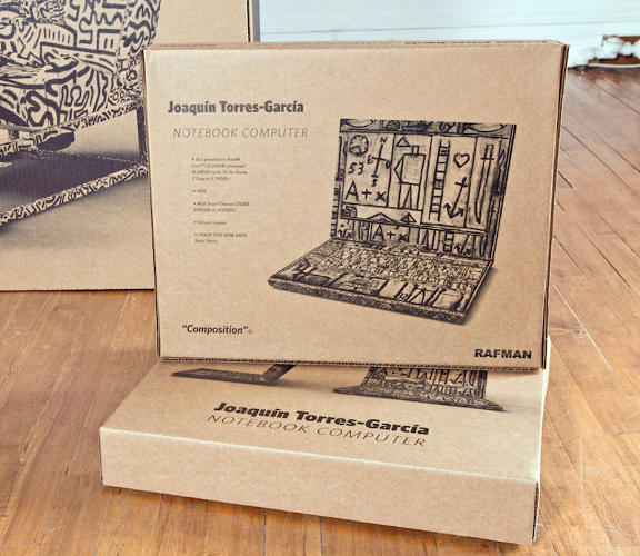 <p>A Joaquin Garcia-Torres laptop is coated in the Uruguayan constructivist's signature pictograms.</p>