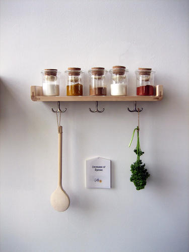 <p>The rice built into these spice bottles absorbs humidity and keep the contents dry.</p>