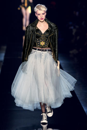 <p>Gaultier's first couture collection, in 1997, referenced The Material Girl.</p>