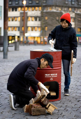 <p>The package can be turned into a wood-burning stove.</p>