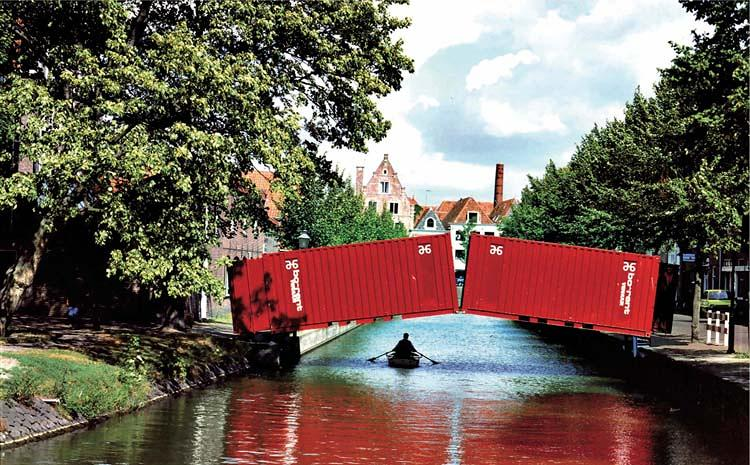 <p>This precarious-looking sculpture by t.o.p. office in Hoorn, the Netherlands, is sturdier than it looks. It's a fully functioning foot bridge. (We still wouldn't want to be the guy in the canoe.)</p>