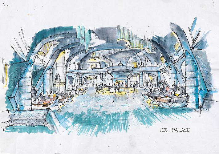 <p>A concept drawing of the Ice Palace in <em>Die Another Day</em>.</p>