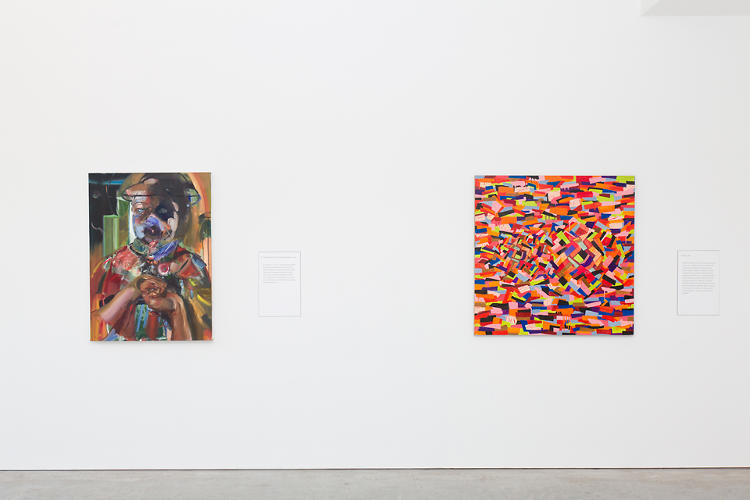 <p>Each era of S-'s life heralds new creative growth, mirrored by the paintings. Paintings by Natalie Frank, at left, and Rochelle Feinstein.</p>