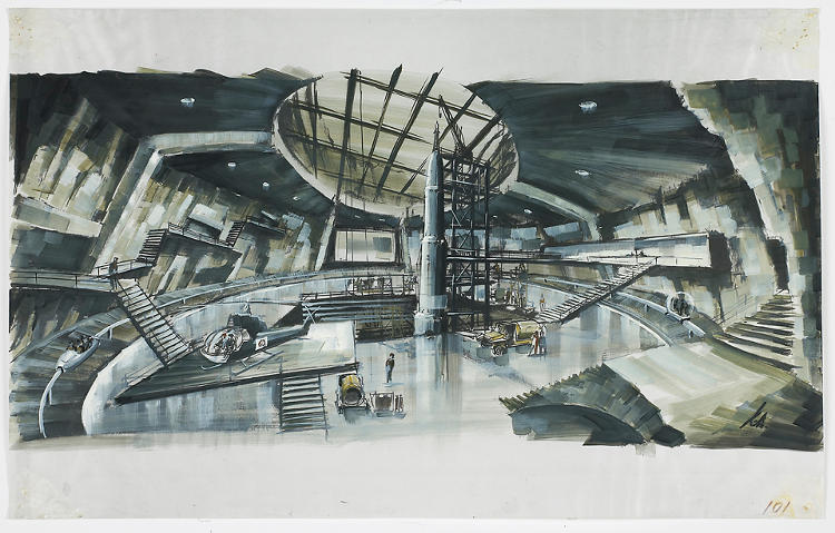 <p>A drawing of Blofeld's volcano lair in <em>You Only Live Twice</em>, by famed James Bond production designer Sir Kenneth Adam.</p>