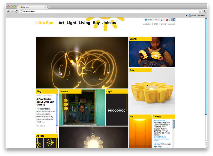 <p>Wolff Olins designed the Little Sun site and helped to craft the object's identity.</p>