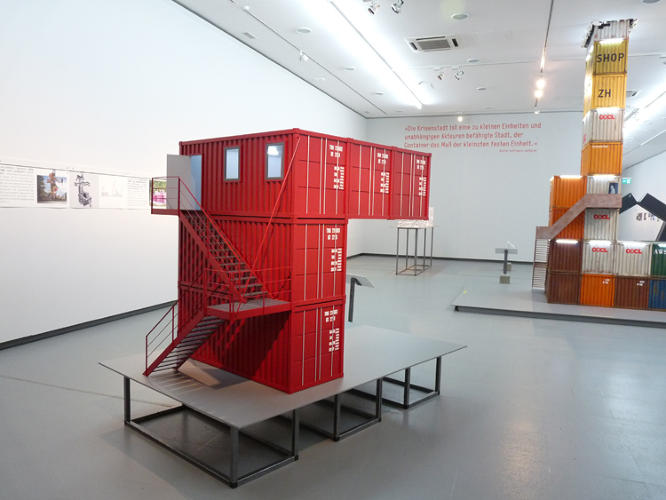 <p>Models of two dozen container buildings were recreated for the exhibit. Here, a replica of a Dutch exhibition pavilion originally designed by t.o.p. office in 2002.</p>