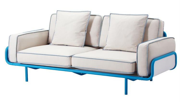 <p>To achieve a feeling of lightness, Nike Karlsson used tubular steel to construct the frame of his sofa. He also opted for pocket springs, commonly found in mattresses, because they can be recycled. $899</p>