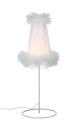 "<p>A small 1950s table lamp with a tutu-like shade inspired Wiebe Braasch contribution to the collection. ""Because it was quite shy, I decided it would be nice to blow up the design and it more elegant, majestic, daring, and contemporary,"" Braasch says. She replaced the bulbous shape of the original base with a steel tube and the standard bulb with an LED. $99.99</p>"