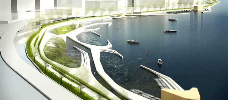 <p>Takuma Ono and Darina Zlateva's second place entry. Image courtesy of CIVITAS/Reimagining the Waterfront.</p>