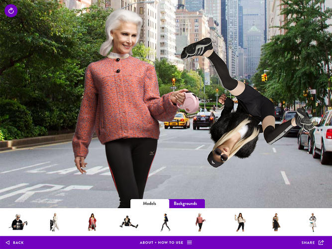 <p>The section by online art collective DIS lets you create silly fashion spreads that would probably put a print art director's blood pressure through the roof.</p>