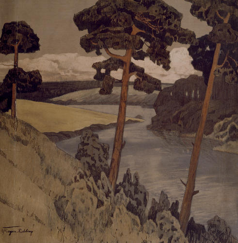 <p>In 1910, when Wright bought this print of a landscape picturing rolling hills and a lake in Saxony on the south side of Leipzig, Carl Kayser-Eichberg won a gold medal in the annual Berlin exhibition.</p>