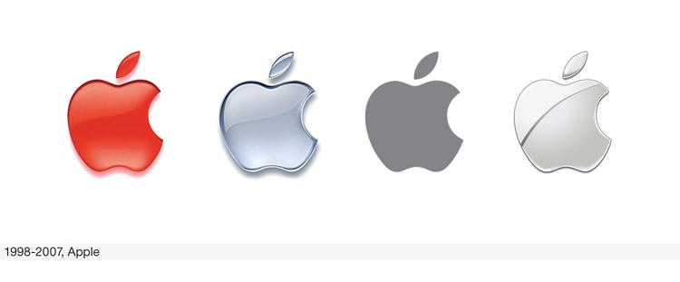 <p>Starting in 1998, the apple became a shiny and monochromatic icon.</p>