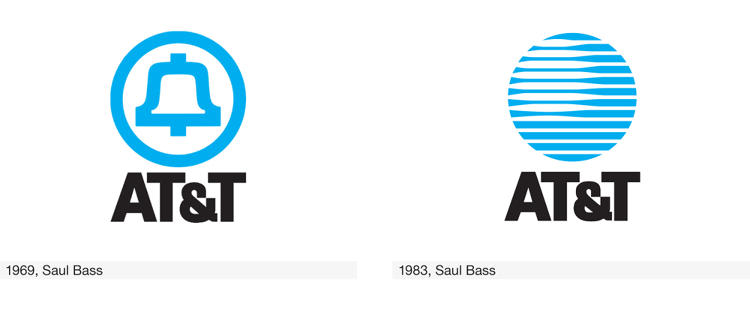 <p>In 1969, Saul Bass dramatically simplified AT&amp;T's bell logo. After the Bell System was dismantled for violating antitrust laws, Bass reimagined the bell as a layered globe with 3-D effect.</p>