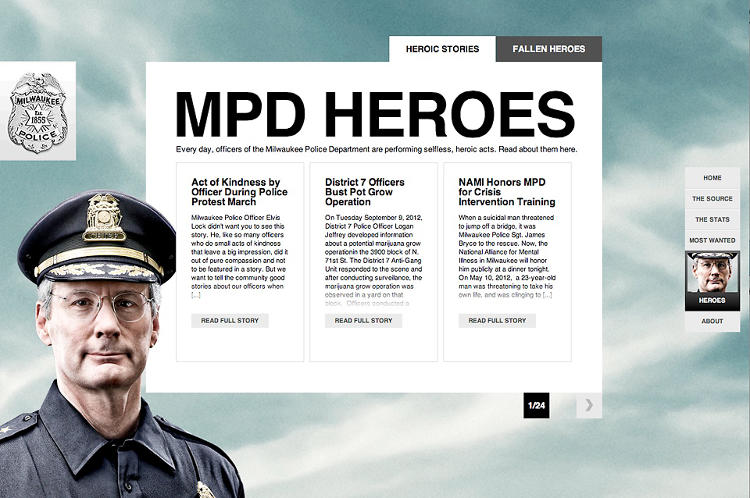 <p>Another page, showing the stories of the officers, with photography that shows the police directly engaged with the reader.</p>
