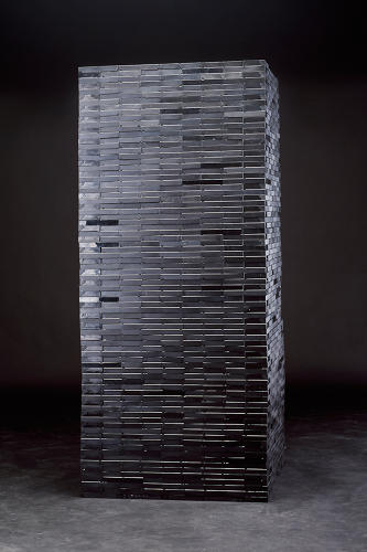 <p>A stern looking tower, made of tape. <br /> <em>Tower No. 4</em></p>