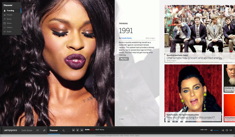<p>The new Myspace is based on a horizontal feed, with special emphasis on visual content and an omnipresent playback bar at the bottom for music.</p>