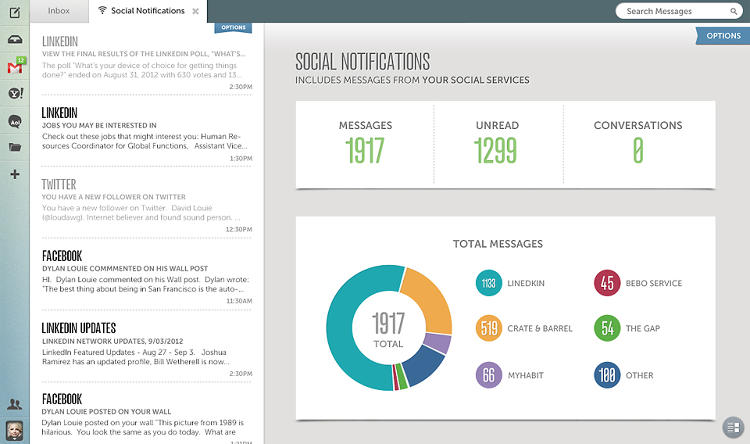 <p>In the social stack, notifications are culled from Twitter, LinkedIn, Path, Facebook, and more, but Alto goes the extra mile to display contextual infographics.</p>