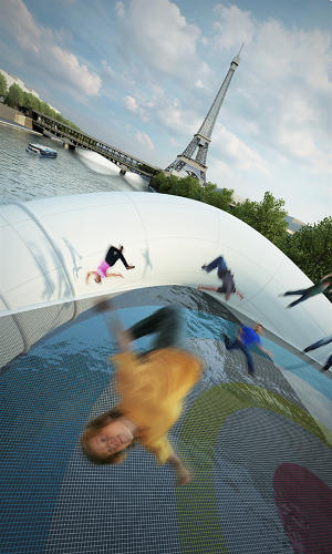 <p>Even though it's hard to imagine it actually getting built, the firm says they did try to keep safety in mind, creating 5-foot perimeter buoys to keep people from bouncing into the Seine.</p>