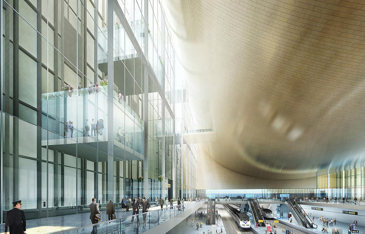 "<p>""This grand public space moves vertically, bringing people from the cornice of Grand Central to the pinnacle of New York City's skyline,"" explains SOM partner Roger Duffy.</p>"